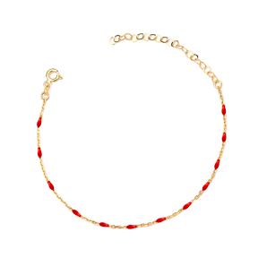 Red Enamel Chain Anklet Turkish Wholesale Handcrafted 925 Sterling Silver Jewelry