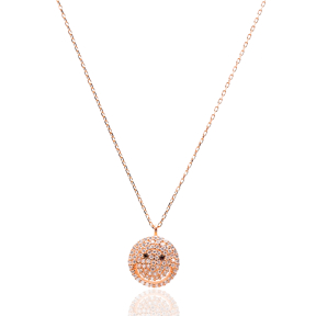 Pave Zircon Sterling Silver Smile Charm Pendant
