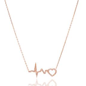 Pave Zircon Sterling Silver Heartbeat Charm Pendant
