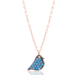 Micro Turquoise Turkish Wholesale Silver Bird Pendant