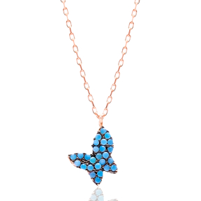 Micro Turquoise Turkish Wholesale Silver Butterfly Pendant