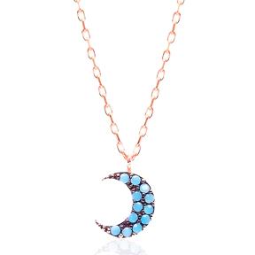 Micro Turquoise Turkish Wholesale Silver Crescent Moon Pendant