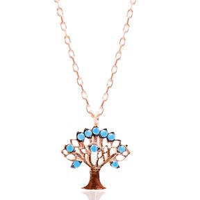 Micro Turquoise Turkish Wholesale Silver Tree Of Life Pendant