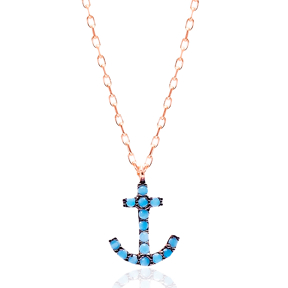 Micro Turquoise Turkish Wholesale Silver Anchor Pendant