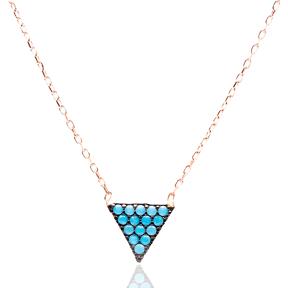 Micro Turquoise Turkish Wholesale Silver Triangle Pendant
