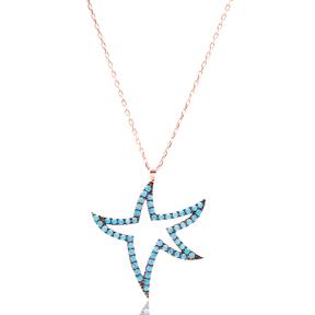 Micro Turquoise Turkish Wholesale Silver Starfish Pendant