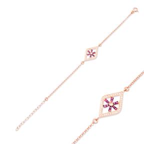 Ruby Stone Snowflake Design Bracelet Turkish Wholesale Handcraft 925 Sterling Silver Jewelry