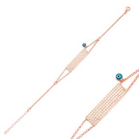 Minimalist Evil Eye Rectangle Shape Bracelet Wholesale Handcraft 925 Sterling Silver Jewelry