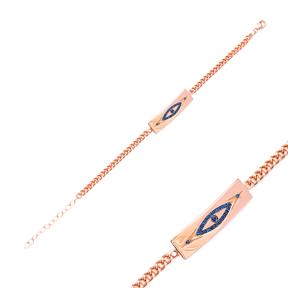 Sapphire Evil Eye Design Bracelet Wholesale Handcraft 925 Sterling Silver Jewelry