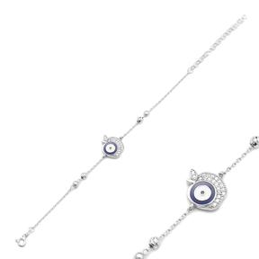 Apple Evil Eye Bracelet Wholesale Handcraft 925 Sterling Silver Jewelry