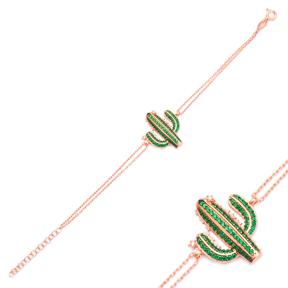 Green Cactus Design Wholesale 925 Sterling Silver Bracelet