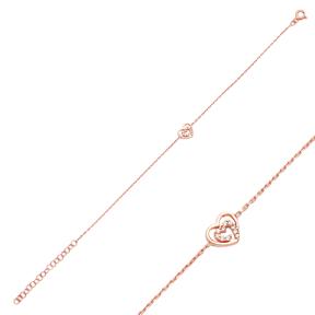 Double Heart Design Bracelet Wholesale 925 Sterling Silver Jewelry