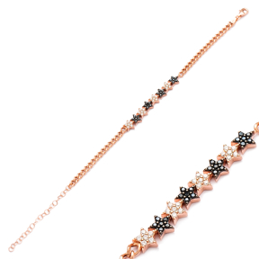 Zircon Stone Star Design Bracelet Wholesale Handcraft 925 Sterling Sİlver Jewelry