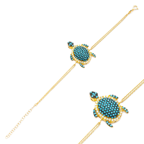 Turquoise Turtle Charm Bracelet Wholesale Turkish 925 Sterling Silver Jewelry