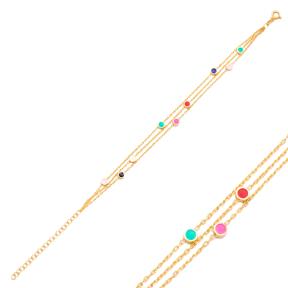Colorful Enamel Minimalist Round Design Charm Bracelet Turkish Wholesale Handmade 925 Sterling Silver Jewelry