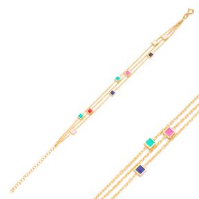 Mix Enamel Minimalist Square Design Charm Bracelet Turkish Wholesale Handmade 925 Sterling Silver Jewelry
