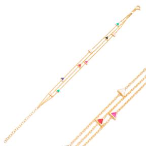 Mix Enamel Minimalist Triangle Design Charm Bracelet Turkish Wholesale Handmade 925 Sterling Silver Jewelry