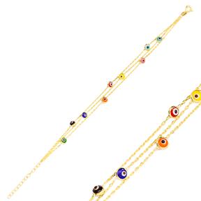 Colorful Evil Eye Design Charm Bracelet Turkish Wholesale Handmade 925 Sterling Silver Jewelry