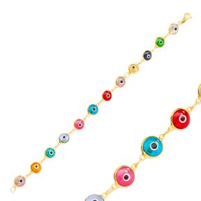 Transparent Colorful Ø8 mm Sized Evil Eye Design Charm Thin Bracelet Turkish Wholesale Handmade 925 Sterling Silver Jewelry