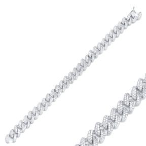 Elegant Trendy Chain Charm Zircon Bracelet Wholesale Turkish 925 Sterling Silver Jewelry
