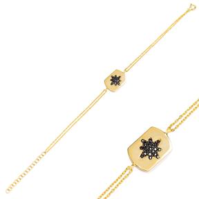 Black Zircon Stone Trendy Charm Bracelet Wholesale Turkish 925 Sterling Silver Jewelry