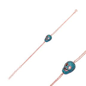 Sterling Silver Wholesale Handcraft Turkish Skull Design Bracelet