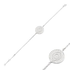 Zircon Sterling Silver Wholesale Handcrafted Turkish Evil Eye Design Bracelet