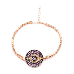 Eye Design Amethyst Sterling Silver Wholesale Handcrafted Turkish Design Bracelet