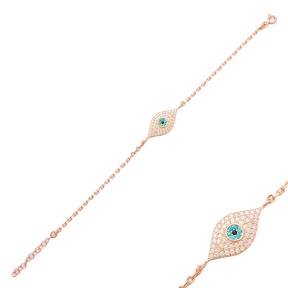 Wholesale Handmade Evil Eye Design Turkish Sterling Silver Bracelet