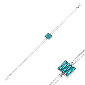 Sterling Silver Wholesale Handcraft Rectangle  Design Bracelet