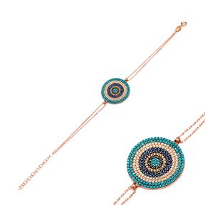 Round Evil Eye Silver Sterling Bracelet Wholesale Handcraft Jewelry