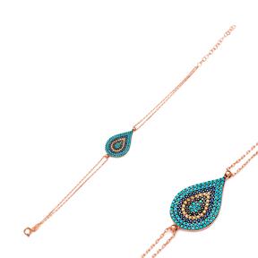 Pear Evil Eye Silver Sterling Bracelet Wholesale Handcraft Jewelry