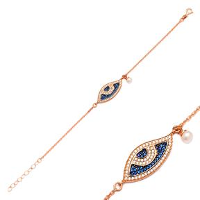 Pearl And Evil Eye Silver Sterling Bracelet Wholesale Handcraft Jewelry