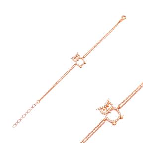 Minimalist Owl Gradient Zircon Design Turkish Wholesale 925 Sterling Silver Charm Bracelet