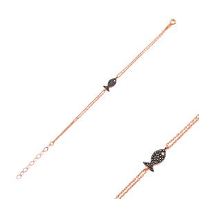 Modern Fish Design Turkish Wholesale 925 Sterling Silver Charm Bracelet