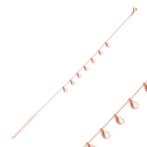 Minimalist Silver Sterling Pear shape Charm Bracelet Wholesale Handcrafted Jewelry