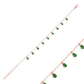 Minimalist Emerald Zircon Stone Drop Charm Bracelet Wholesale Sterling Silver Jewelry