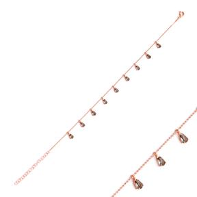 Minimalist Silver Sterling Pear Shape Quartz Charm Bracelet Wholesale Handcrafted Jewelry