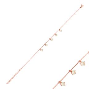 Minimalist Silver Sterling Pink Quartz Charm Bracelet Wholesale Handcrafted Jewelry