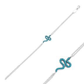 Minimalist Silver Sterling Snake Charm Bracelet Wholesale Handcrafted Jewelry