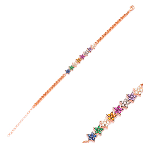 Colorful Star Charm Bracelet Wholesale 925 Sterling Silver Jewelry