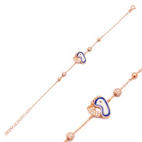 Enamel Feet Design Bracelet Wholesale 925 Sterling Silver Jewelry