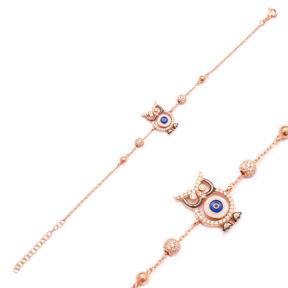 Enamel Owl Design Bracelet Wholesale 925 Sterling Silver Jewelry