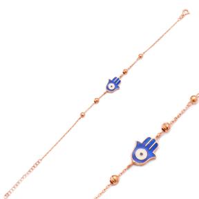 Enamel Evil Eye Hamsa Design Bracelet Wholesale 925 Sterling Silver Jewelry