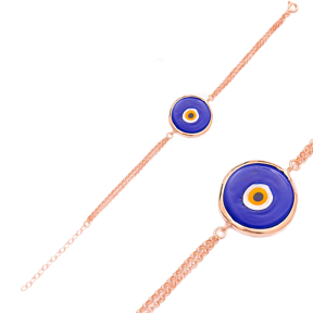 Enamel Evil Eye Design Bracelet Wholesale 925 Sterling Silver Jewelry