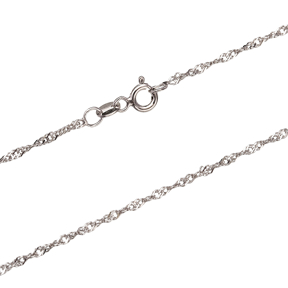 Twist Rope Rhodium Plated Chain Silver Necklace