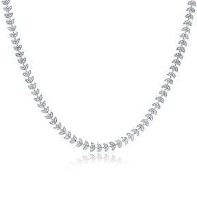 Dainty Design Zircon Stone Chain Necklace Turkish Handmade 925 Sterling Silver Jewelry