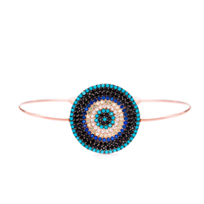 Evil Eye Design Wholesale Handmade Turkish Zirconi 925 Sterling Silver Cuff Bangle