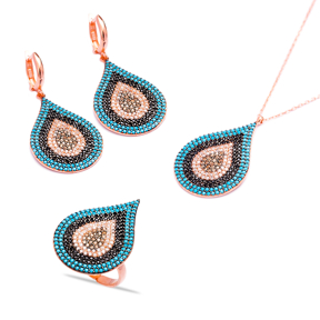 Evil Eye Handcrafted Wholesale Turkish Silver Set
