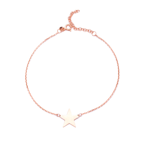 Plain Star Design Anklet Wholesale Turkish Sterling Silver Jewelry
